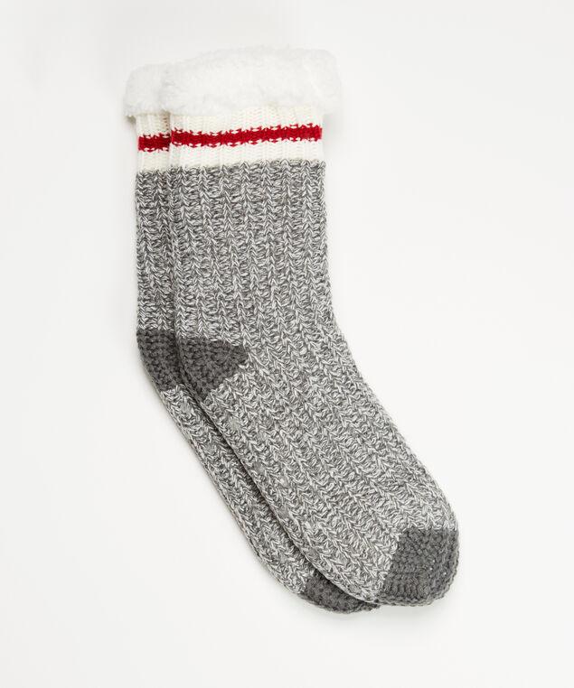 cabin stripe slipper sock, Grey, hi-res