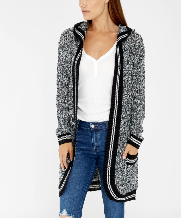 long hooded cardigan - wb, white/black, hi-res