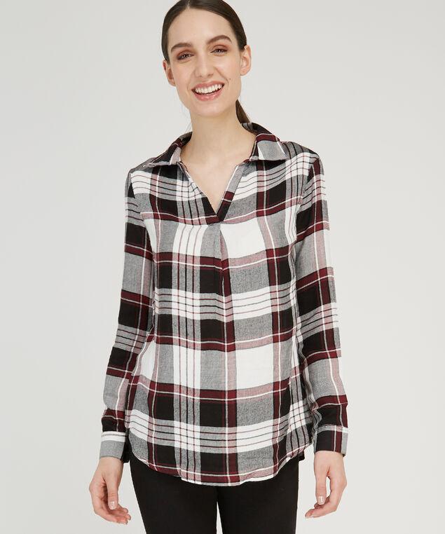 popover plaid shirt - wb, IVORY BURGANDY PLAID, hi-res