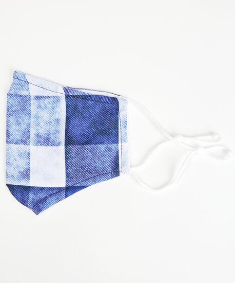 blue plaid face mask, Blue, hi-res