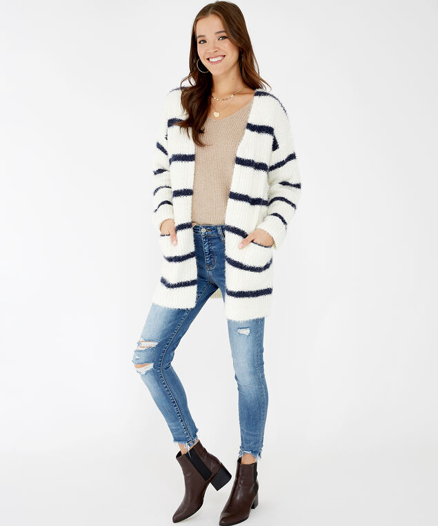striped fuzzy cardigan - wb, White/Navy Stripe, hi-res