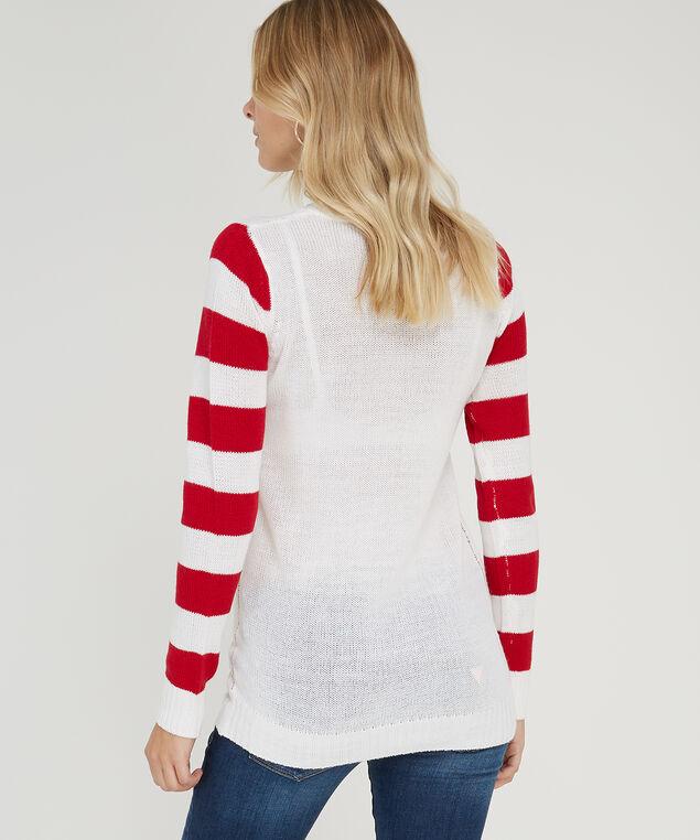 stripe sleeve christmas sweater - wb, IVORY, hi-res