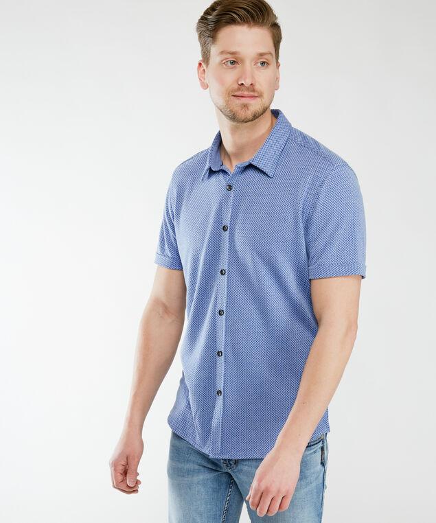 short sleeve knitted shirt, Blue