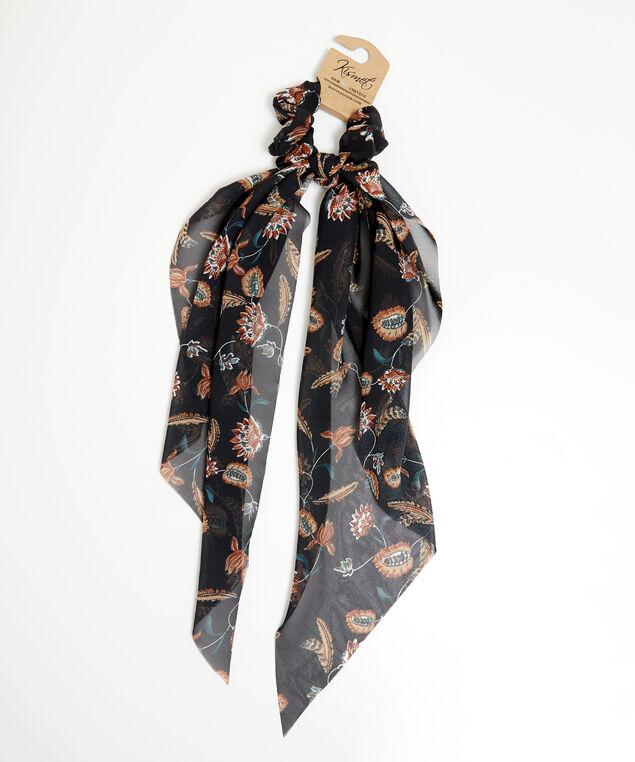 1pk scrunchie floral detail, Black Print, hi-res