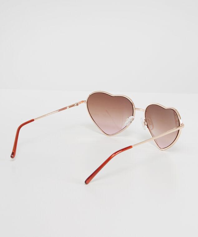 metal heart shaped sunglasses - wb, GOLD, hi-res