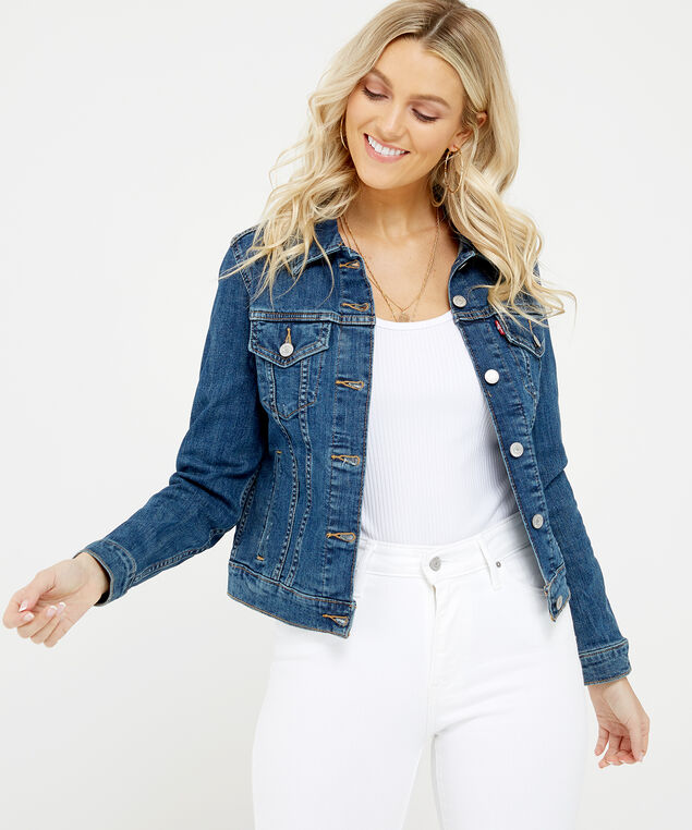 trucker jacket, Denim, hi-res