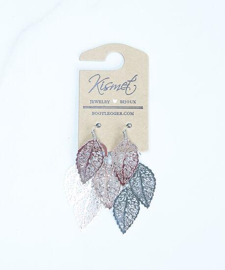 leaf drop earrings, Silver, hi-res