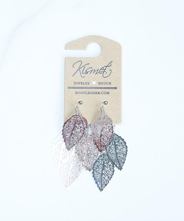leaf drop earrings, Silver