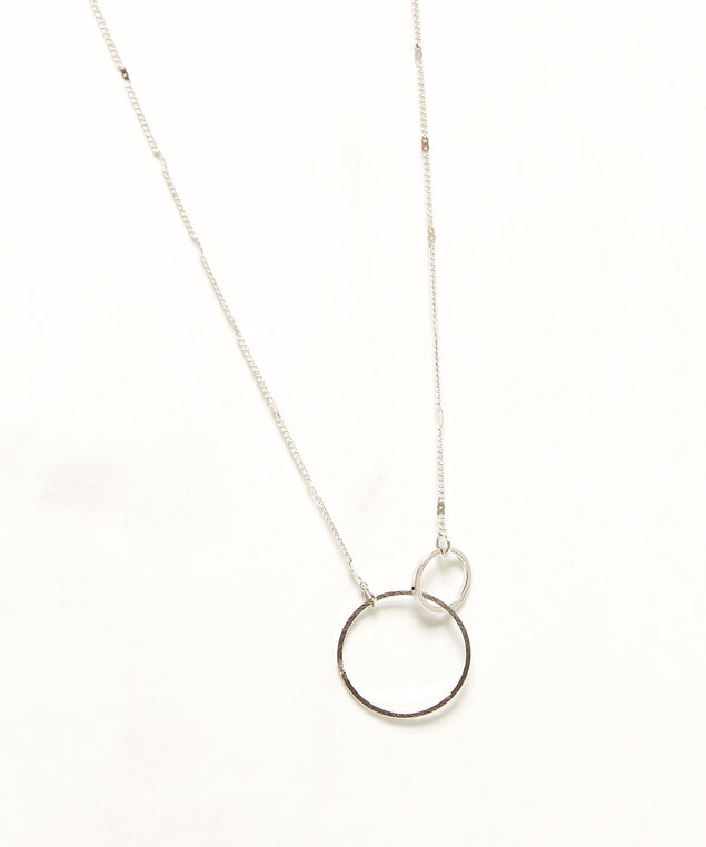 dainty interlocked circle necklace, Silver, hi-res