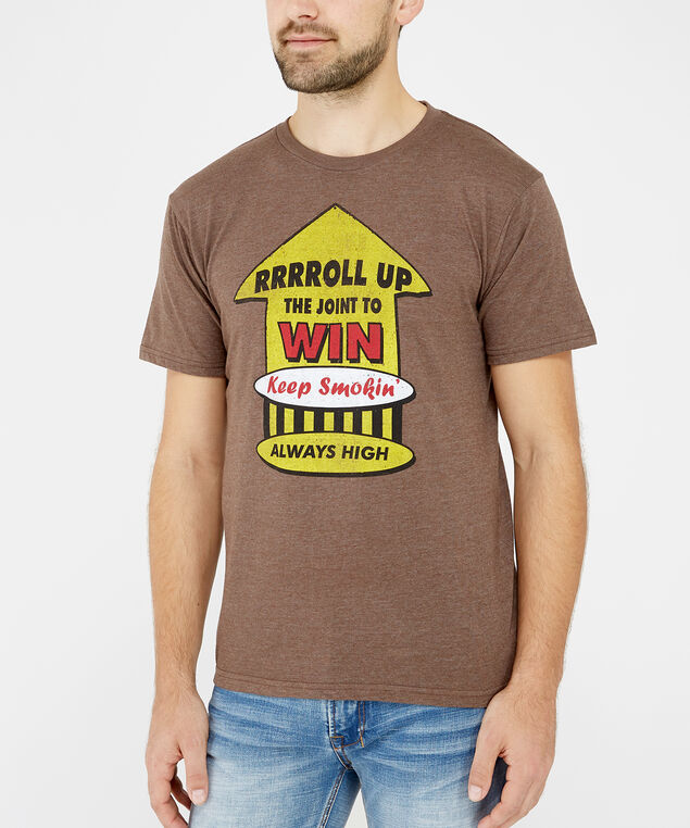 roll up graphic tee, Brown, hi-res