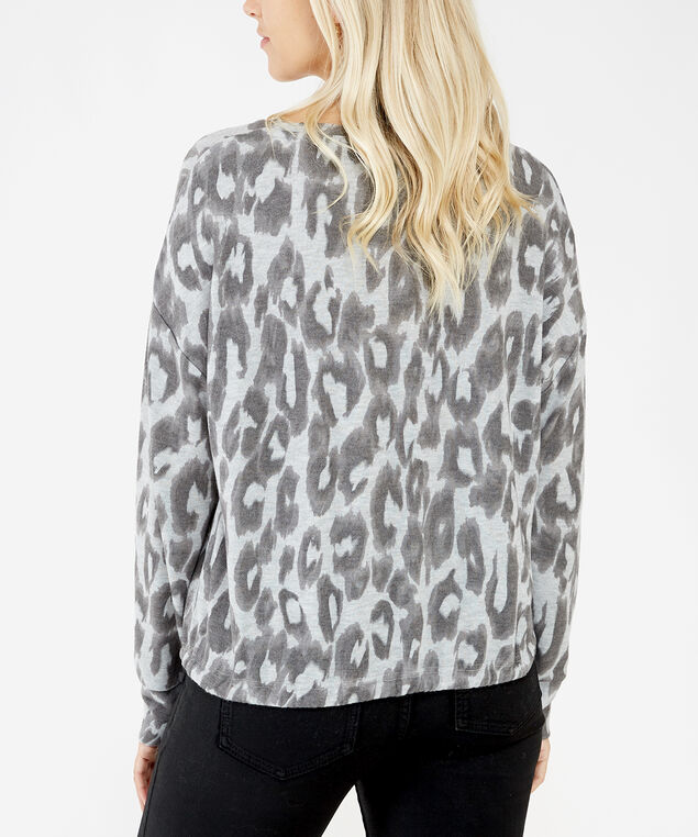 tie front long sleeve - wb, Leopard print, hi-res