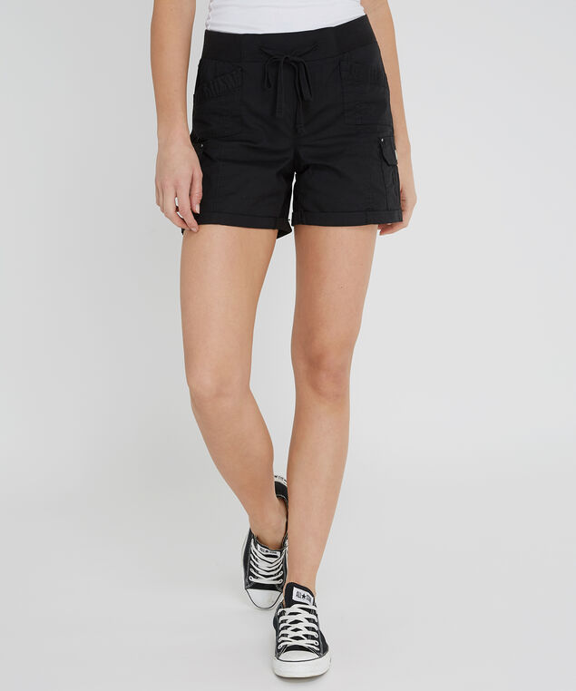 cuffed cargo short - wb, BLACK, hi-res