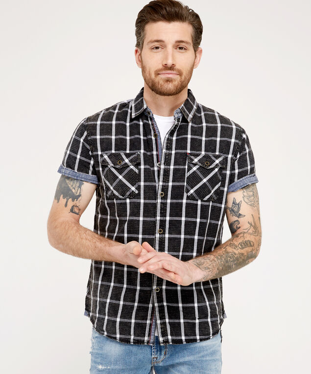 acid wash plaid shirt, BLACK, hi-res