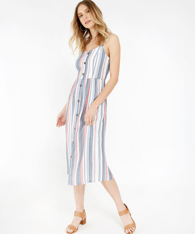 striped button front dress - wb, STRIPE, hi-res