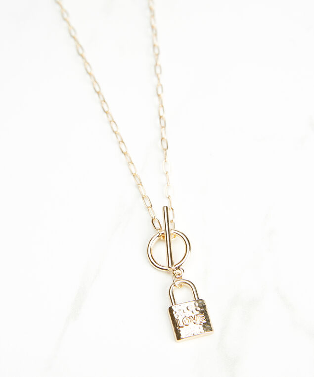 love lock necklace, Gold