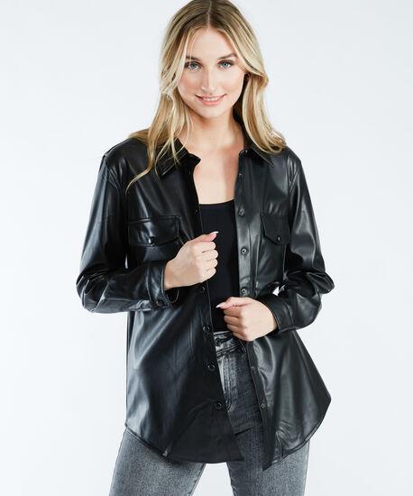 faux leather shirt jacket, Black, hi-res