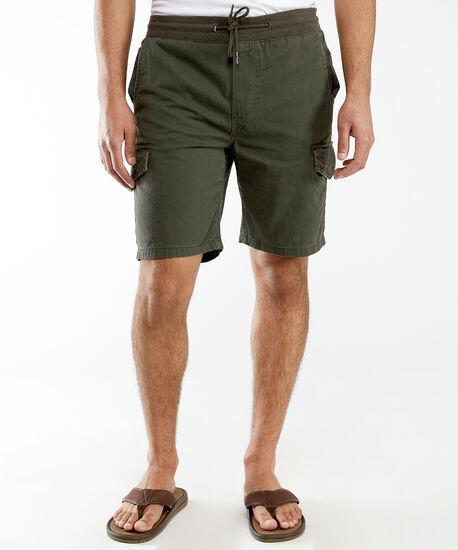 drawstring cargo shorts, Dark Olive, hi-res