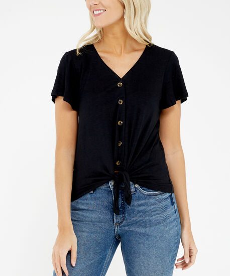 ruffle sleeve tee - wb, Black, hi-res