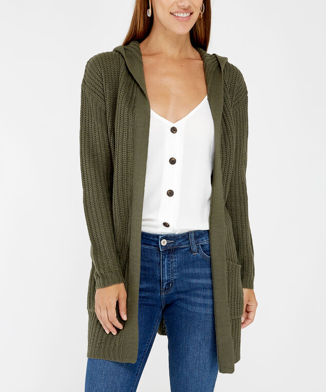 hooded cardigan - wb, Green, hi-res