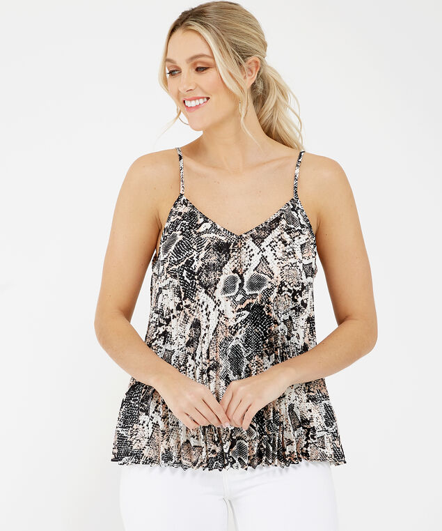 snakeskin pleated cami - wb, Black and White, hi-res