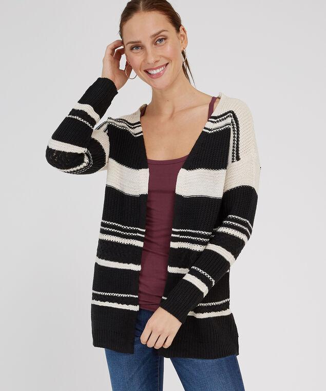 striped open cardigan - wb, BLACK COMBO, hi-res