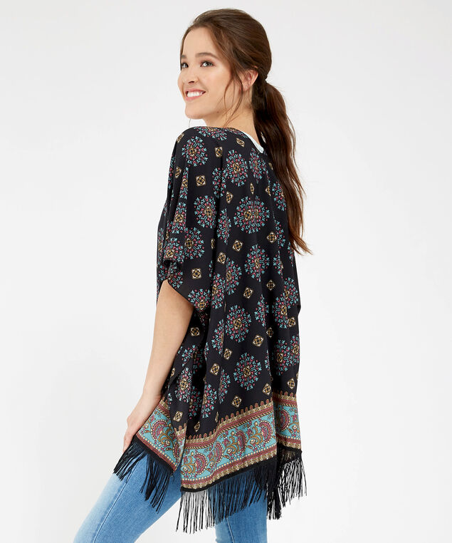 boho printed kimono, BLACK COMBO, hi-res