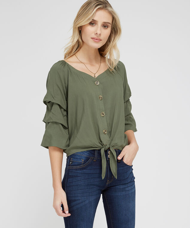 ruffle sleeve peasant top - wb, OLIVE, hi-res