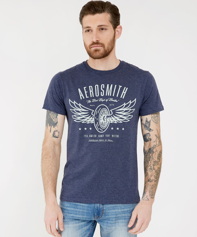 aerosmith graphic tee, BLUE, hi-res
