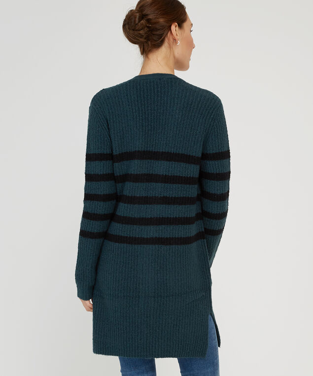 striped long sleeve cardigan - wb, TEAL/HEATHER, hi-res