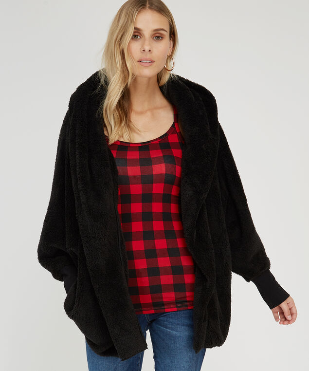 sherpa cardigan with hood - wb, BLACK, hi-res