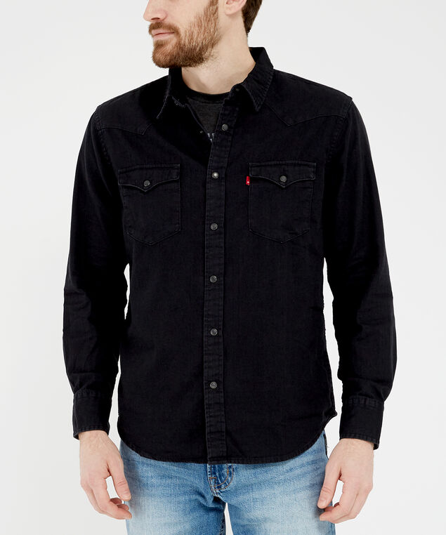 black denim shirt - wb, Black, hi-res