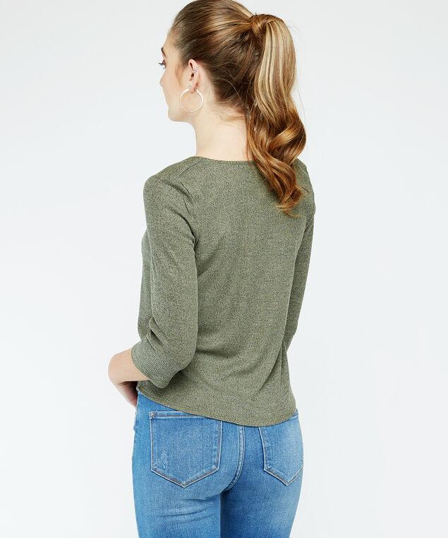 3/4 sleeve button top - wb, Khaki, hi-res