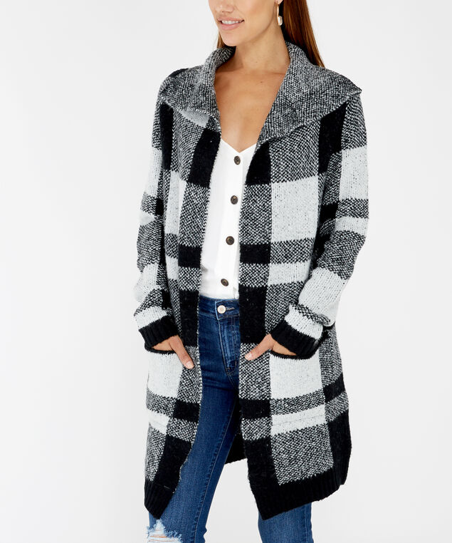 checkered cardigan - wb, Black, hi-res