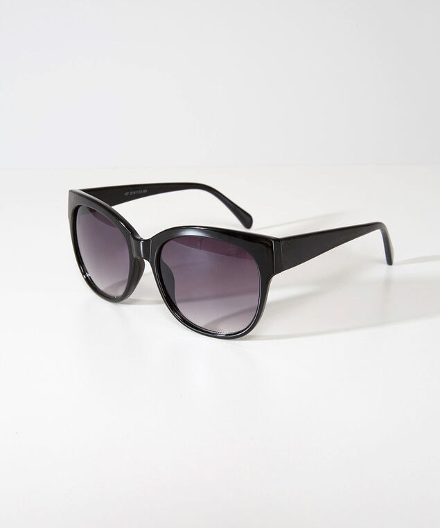 plastic rounded sunglasses, BLACK, hi-res