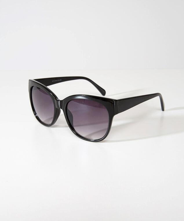 plastic rounded sunglasses, BLACK, hi-res