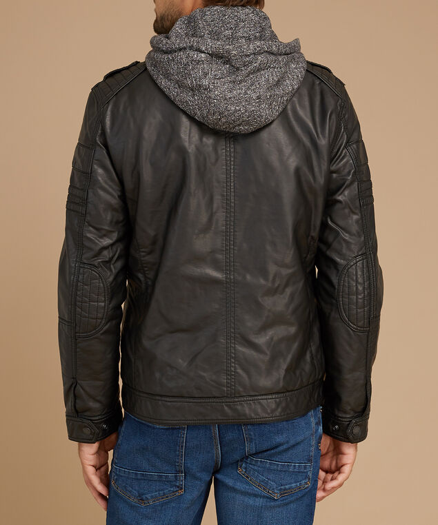 faux leather jacket with knitted hood, BLACK, hi-res