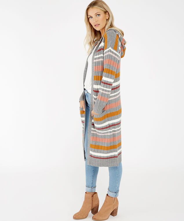 hooded striped cardigan - wb, Grey, hi-res