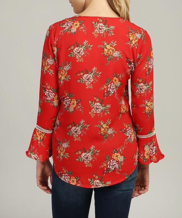 v neck bell sleeve top, RED FLORAL, hi-res