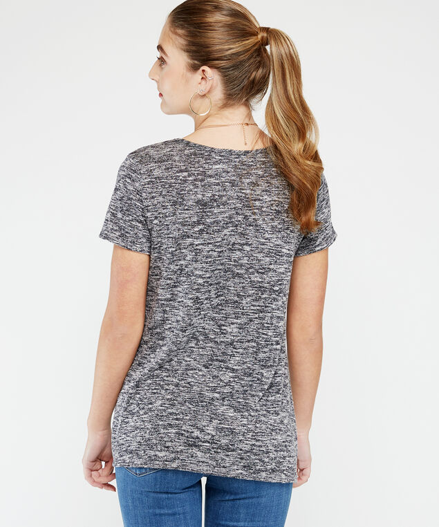twisted hem tee, Black