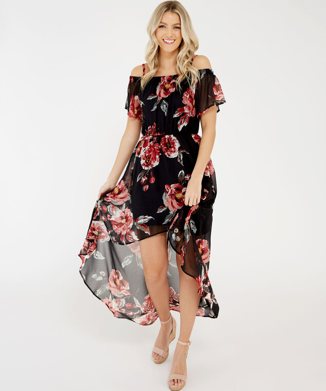 off the shoulder dress - wb, Floral, hi-res