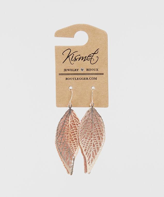 leaf pendant earrings, ROSE, hi-res