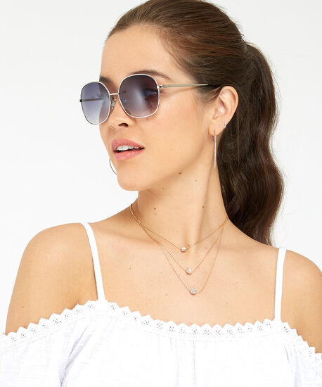 metal square sunglasses, SILVER, hi-res