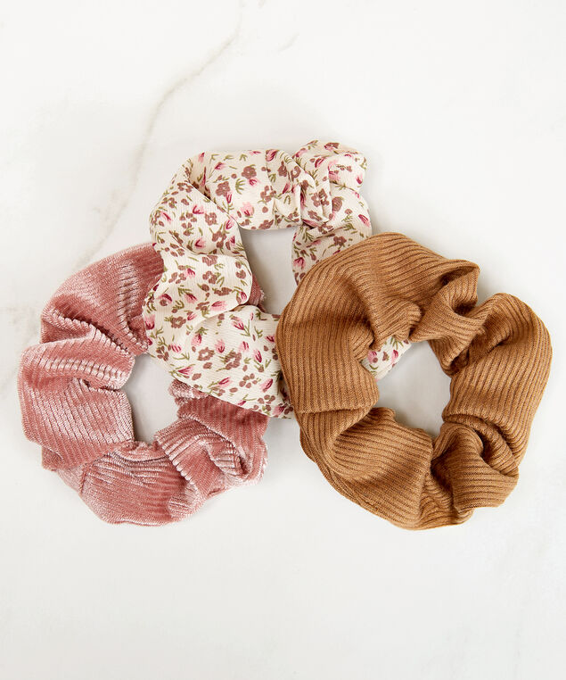 3 pack hair scrunchies, Assorted