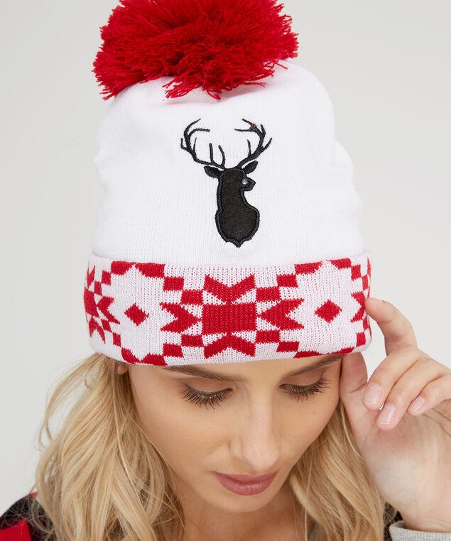 light-up reindeer fairisle toque, IVORY/RED, hi-res