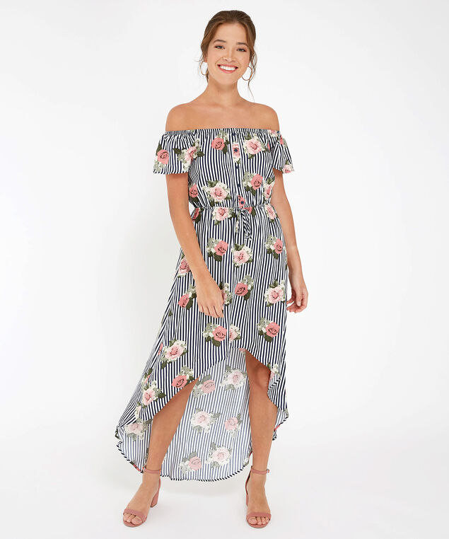 striped floral maxi dress, STRIPE FLORAL, hi-res