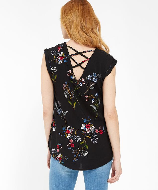lace up back short sleeve - wb, BLACK, hi-res