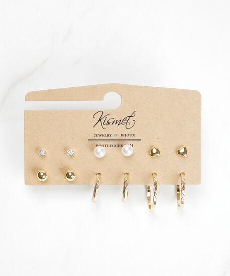 multi pack studs and hoops, Gold, hi-res