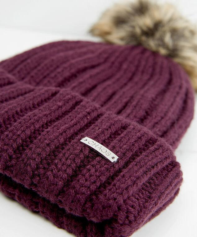 rib knit toque with faux fur pom, Purple, hi-res