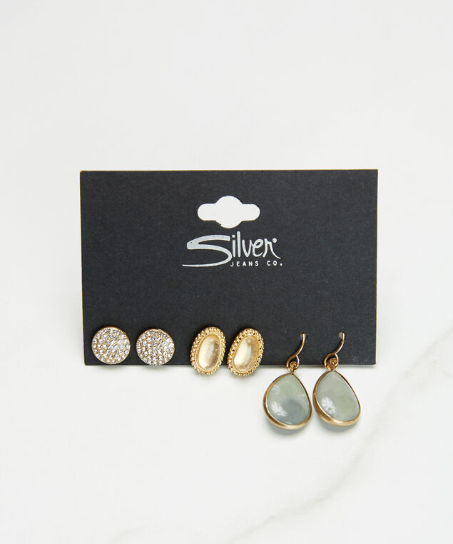 3 pack earrings, Gold, hi-res