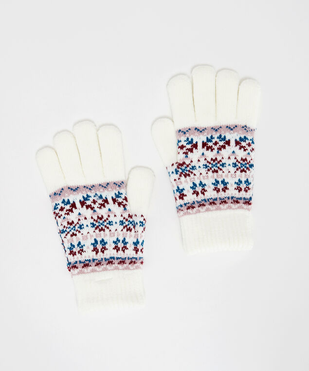 fairisle gloves, Ivory, hi-res